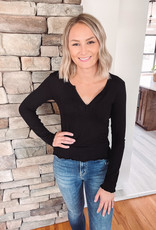 Black Thermal Notched Long Sleeve