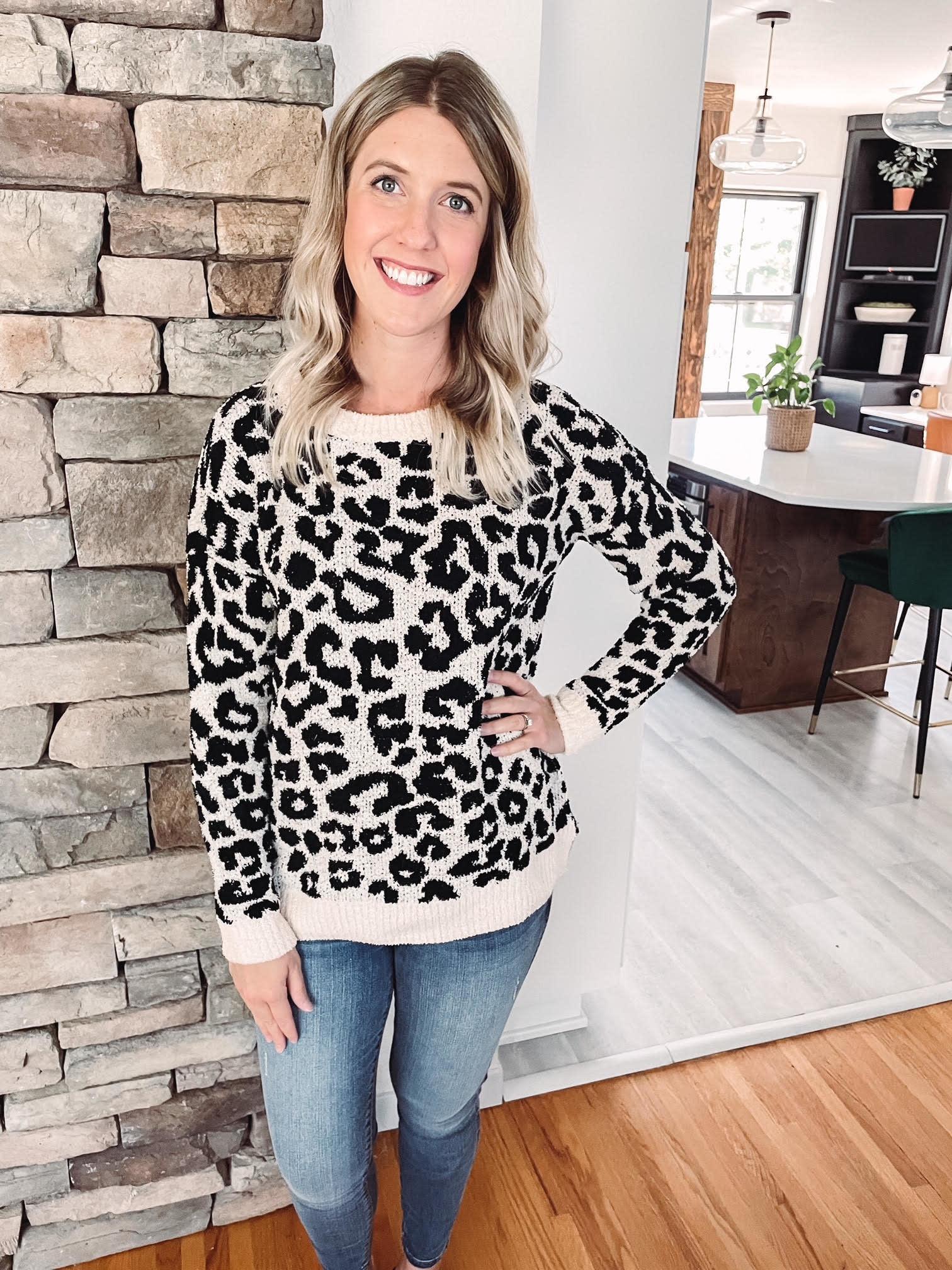 Black + White Animal Print Sweater
