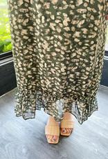 Green Leopard Ruffle Slip Dress
