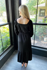 Olivia Midi Black Dress