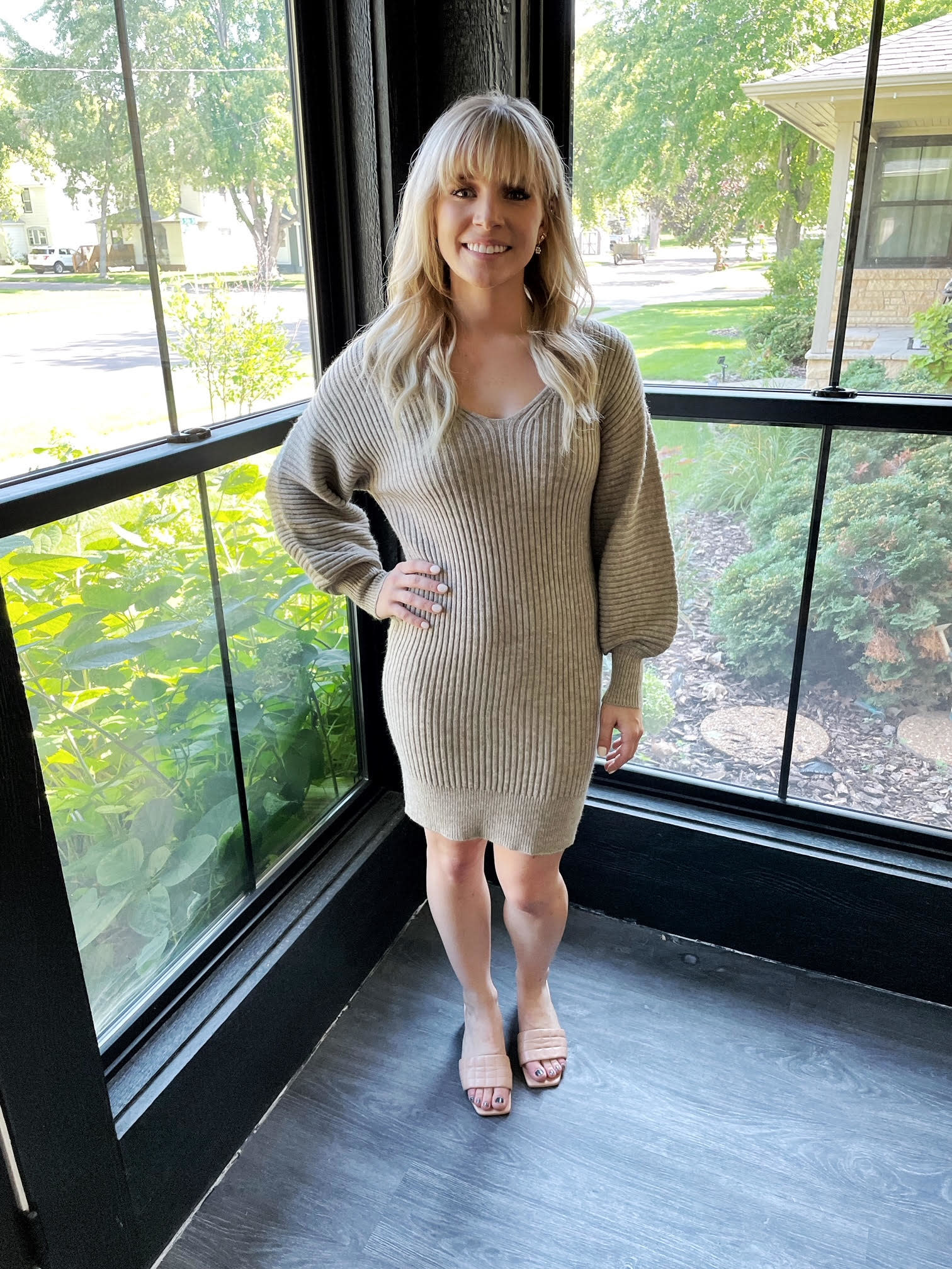 Everly Khaki Sweater Dress