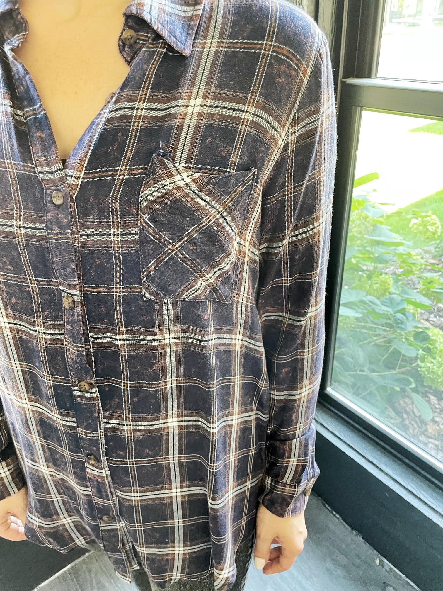 Navy Acid Washed Plaid Shirt