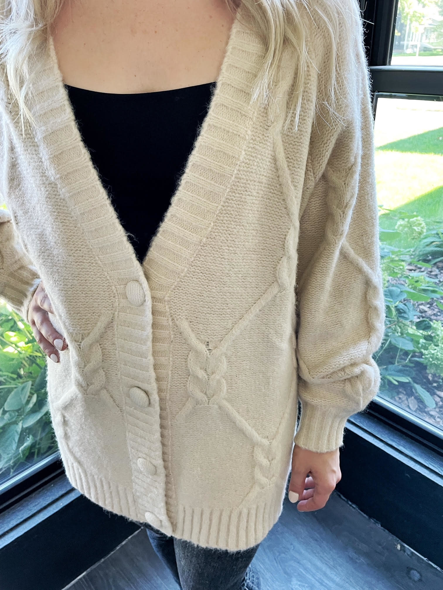 Cable Knit Cream Cardigan