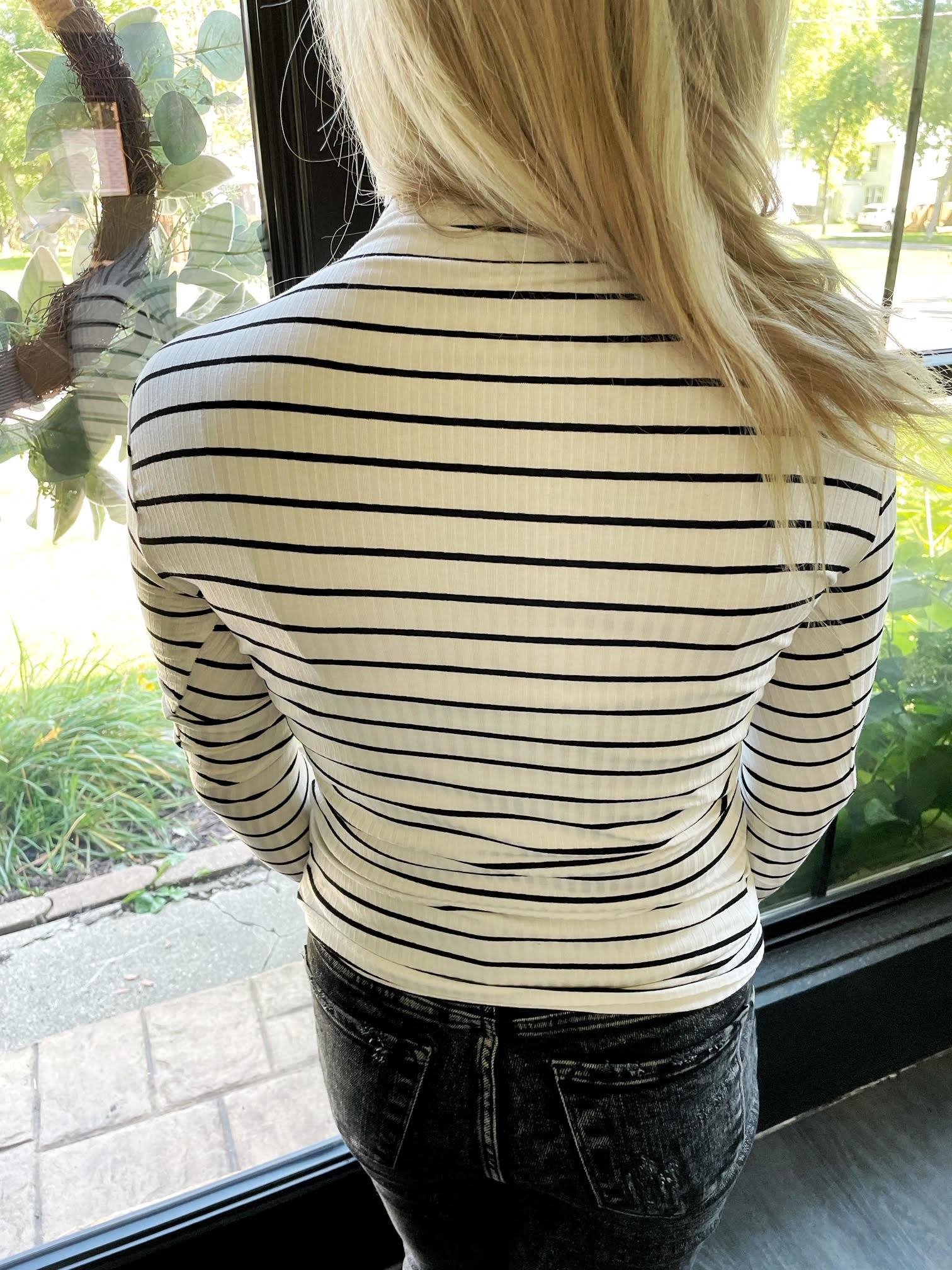 Aza Striped Mock Neck