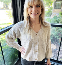 Meg Taupe Cable Knit Cardigan