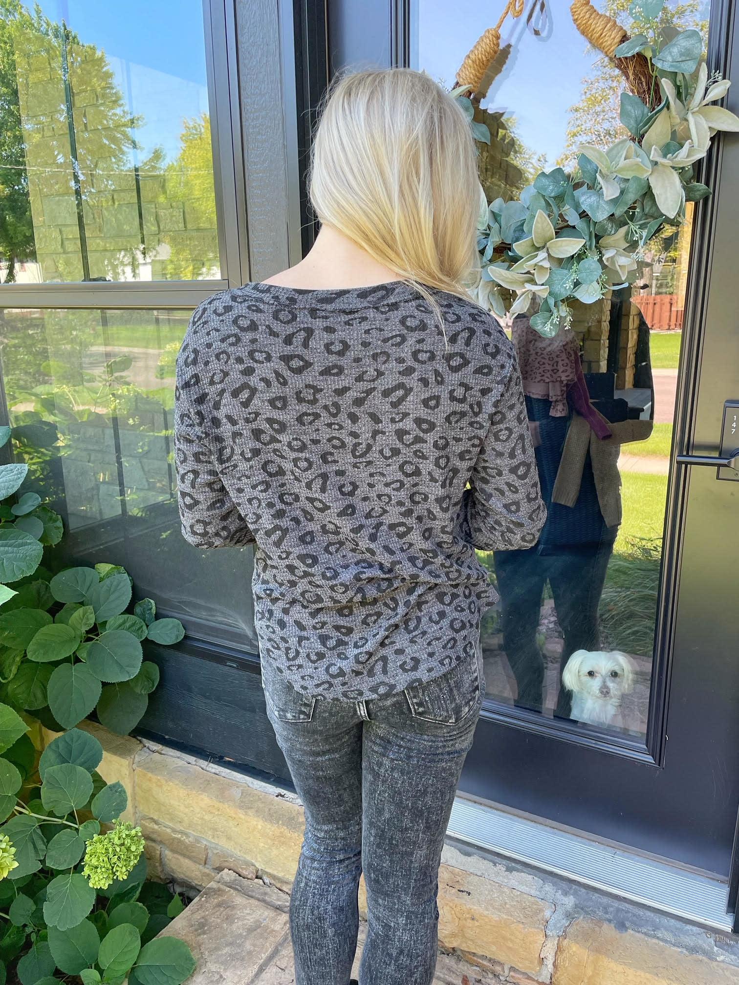 Charcoal Leopard Henley Top
