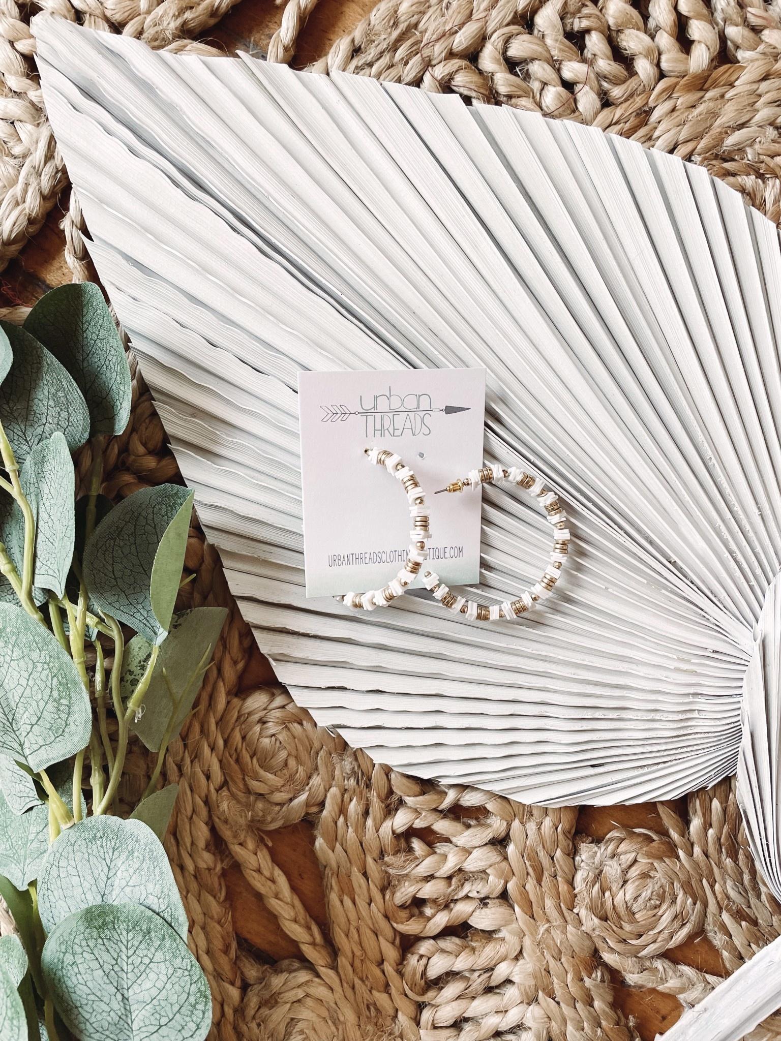 Alyssa White Beaded Earrings