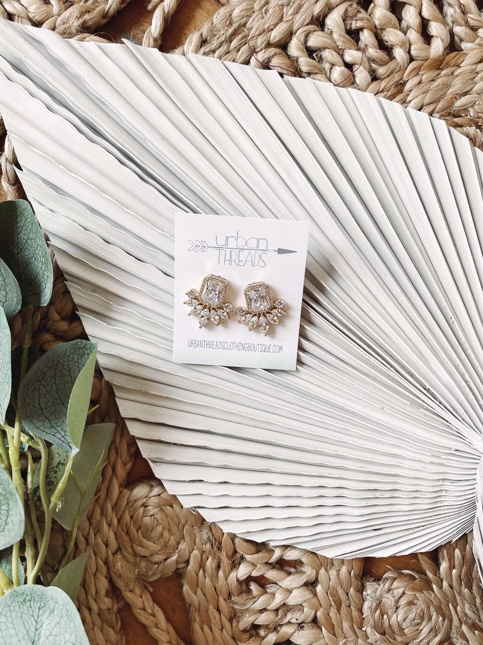 Isla Rhinestone Gold Earrings