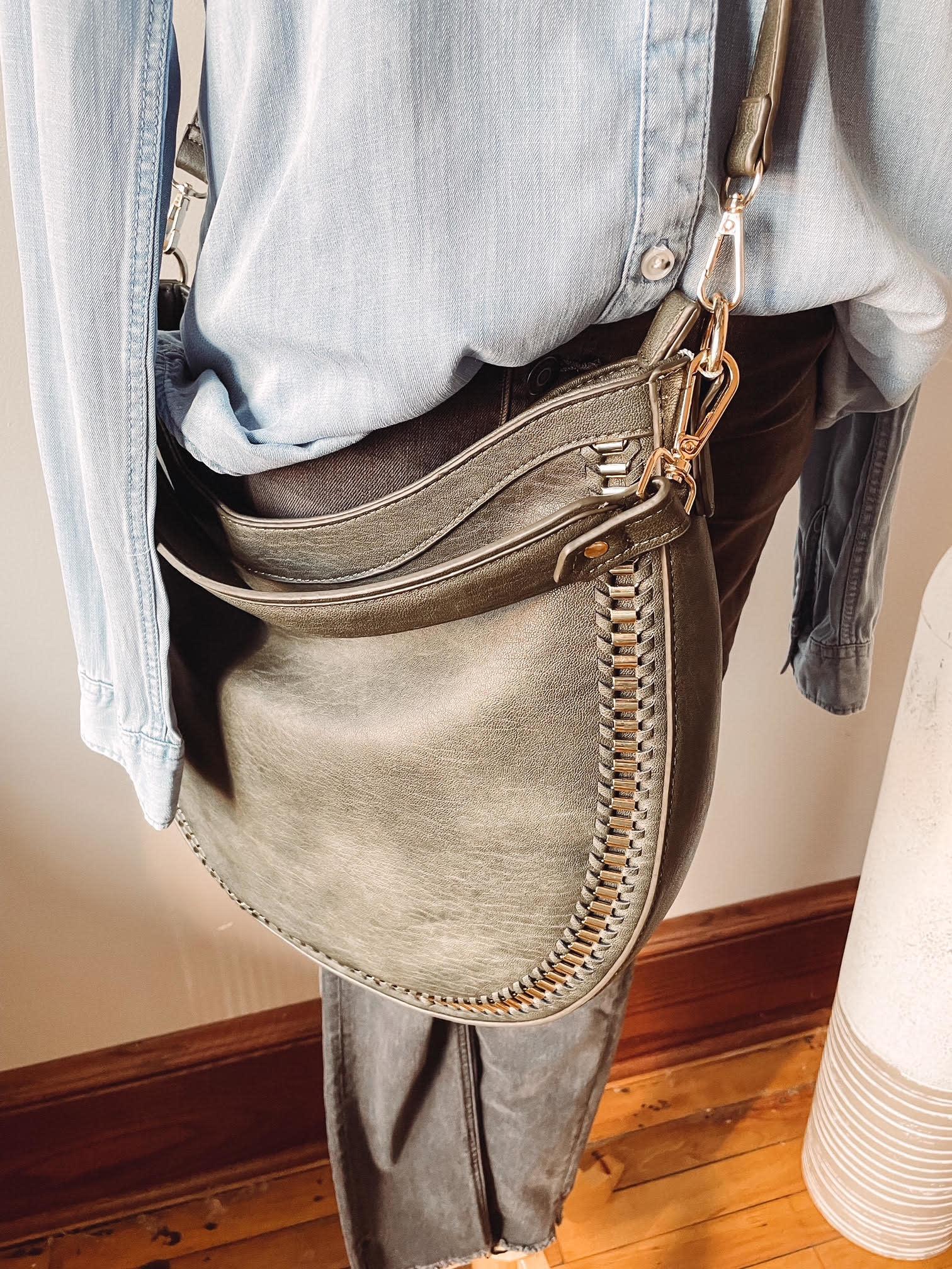 Aria Olive Studded Bag