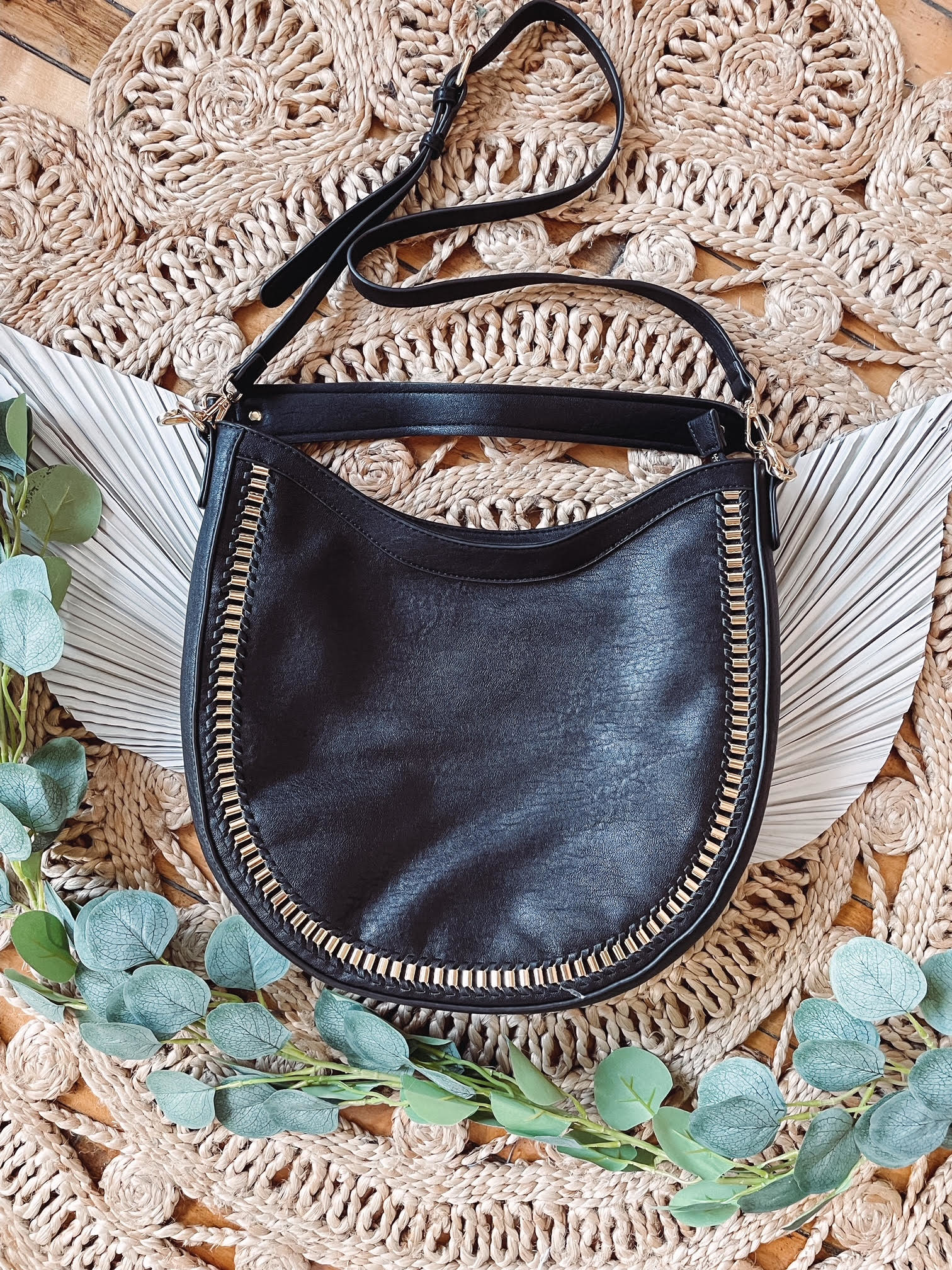 Aria Black Studded Bag