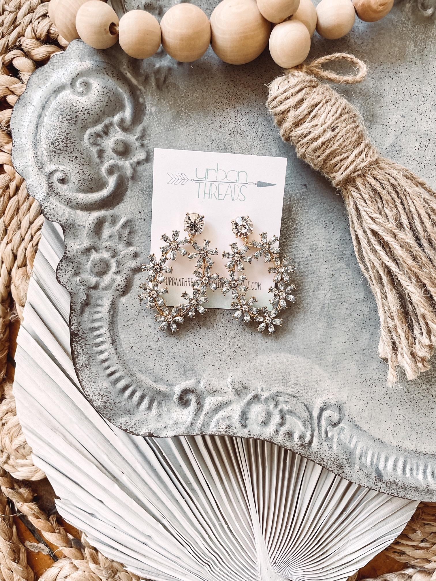 Hailey Gold Rhinestone Earrings