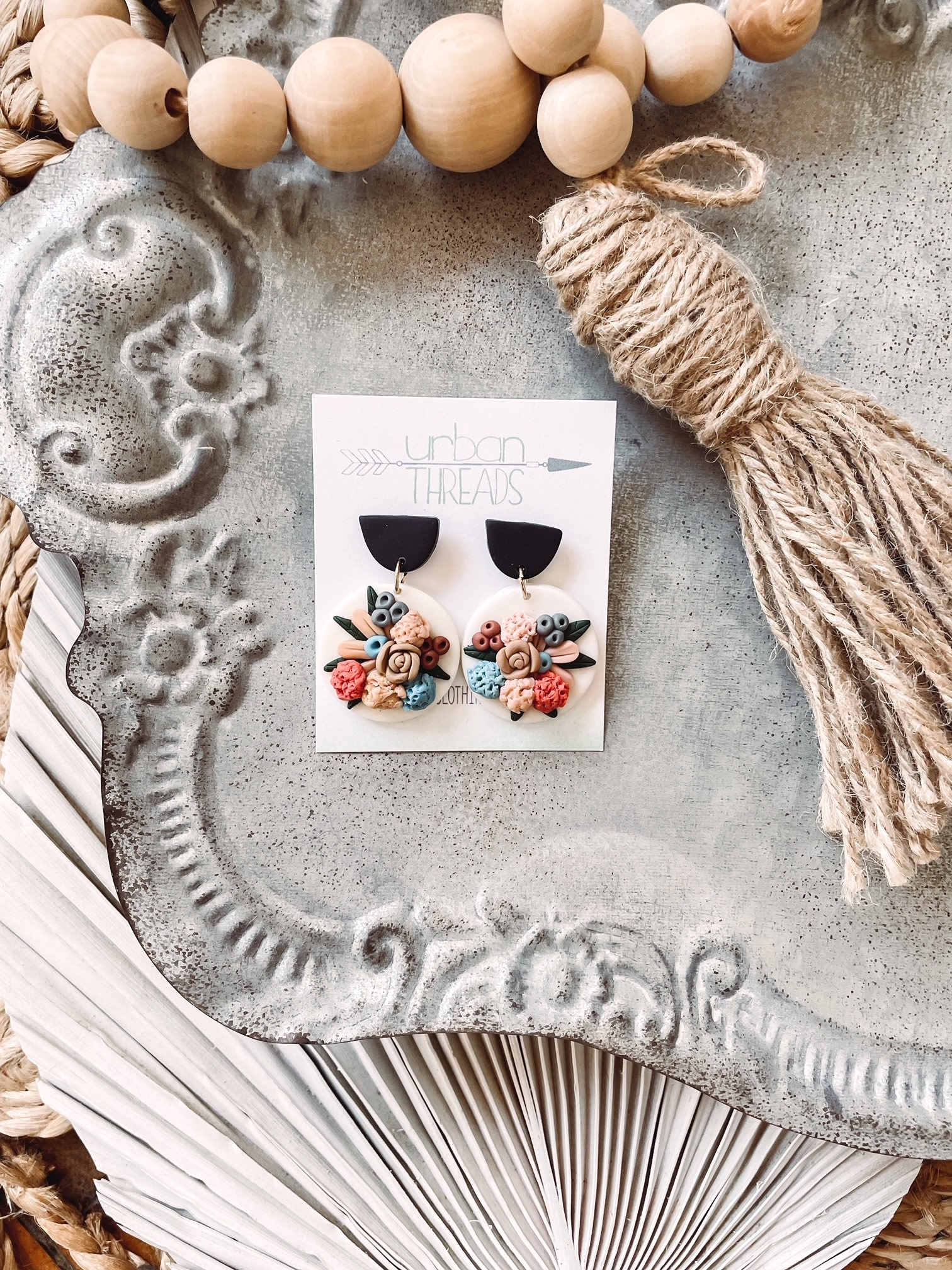 Addison White Floral Earrings