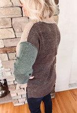 Taupe + Teal Color Block Sweater