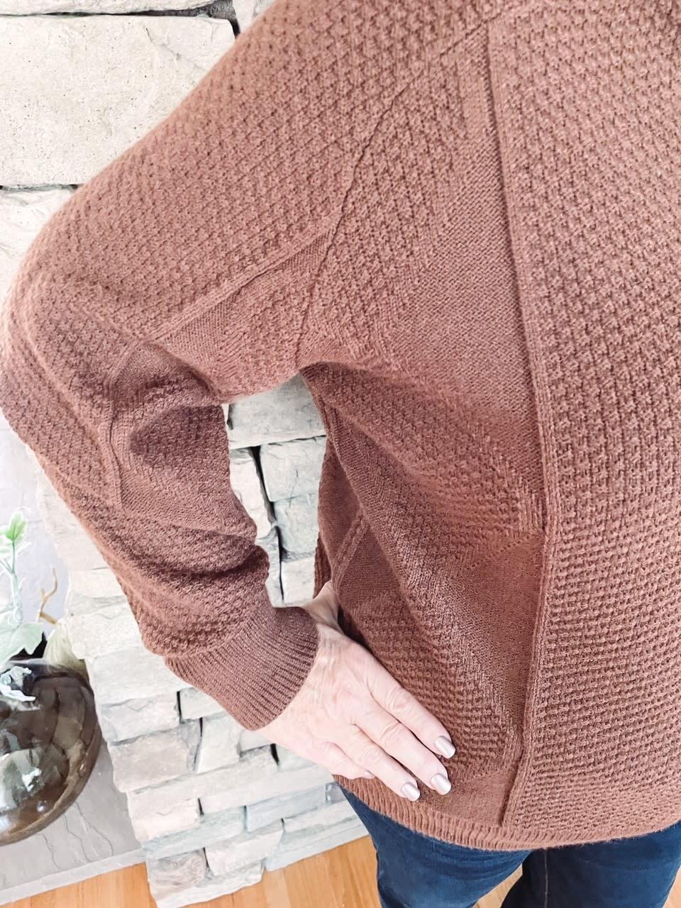 Rebecca Walnut Mock Neck Sweater