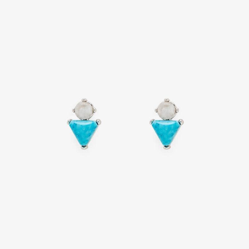 PuraVida Turquoise + Moonstone Studs