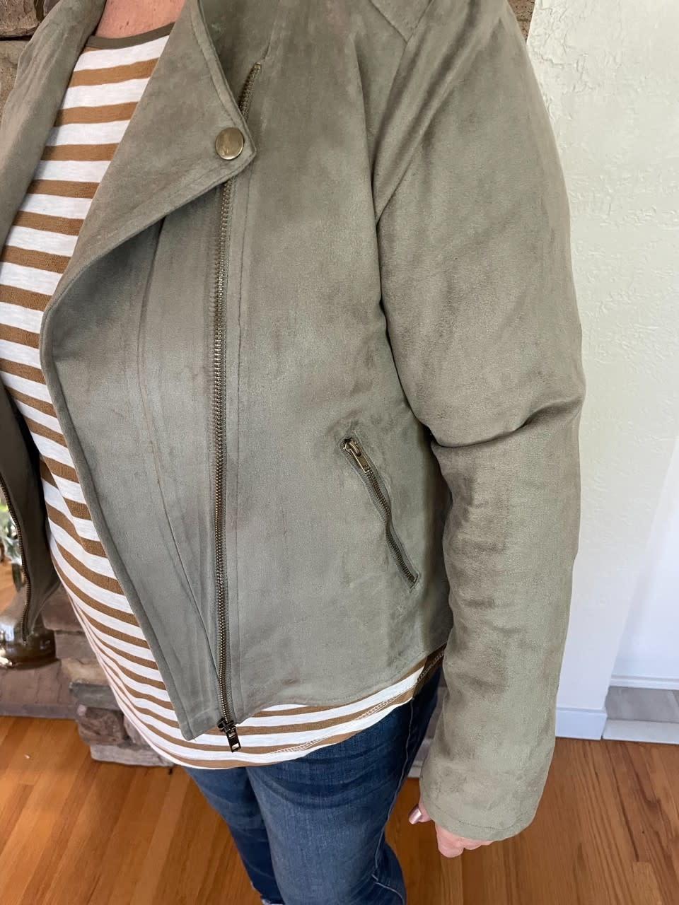 Abigail Olive Suede Jacket