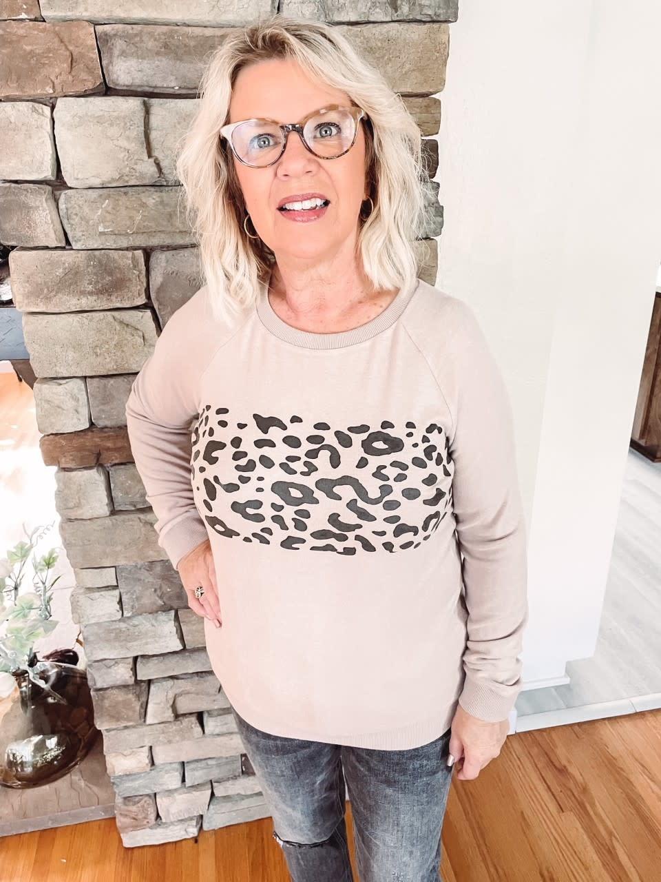 Latte Leopard Brushed Pullover