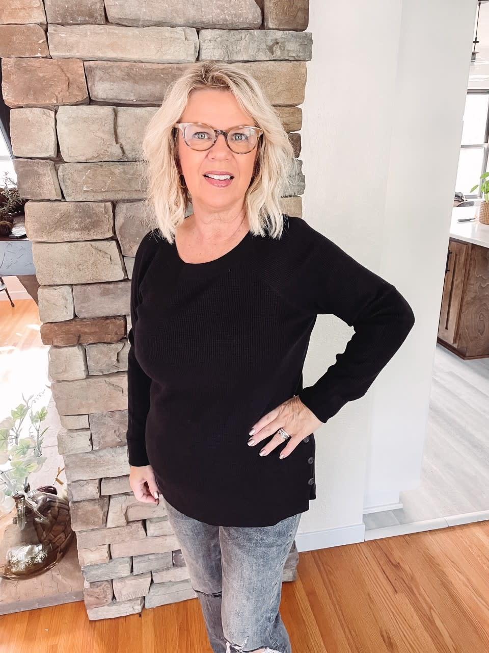 Dawn Black Waffle Sweater