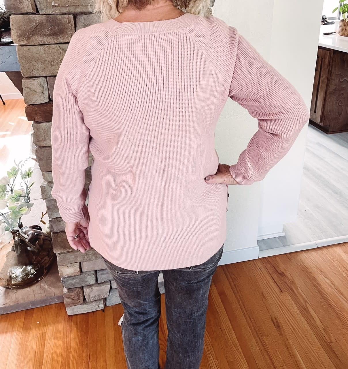 Dawn Blush Waffle Sweater