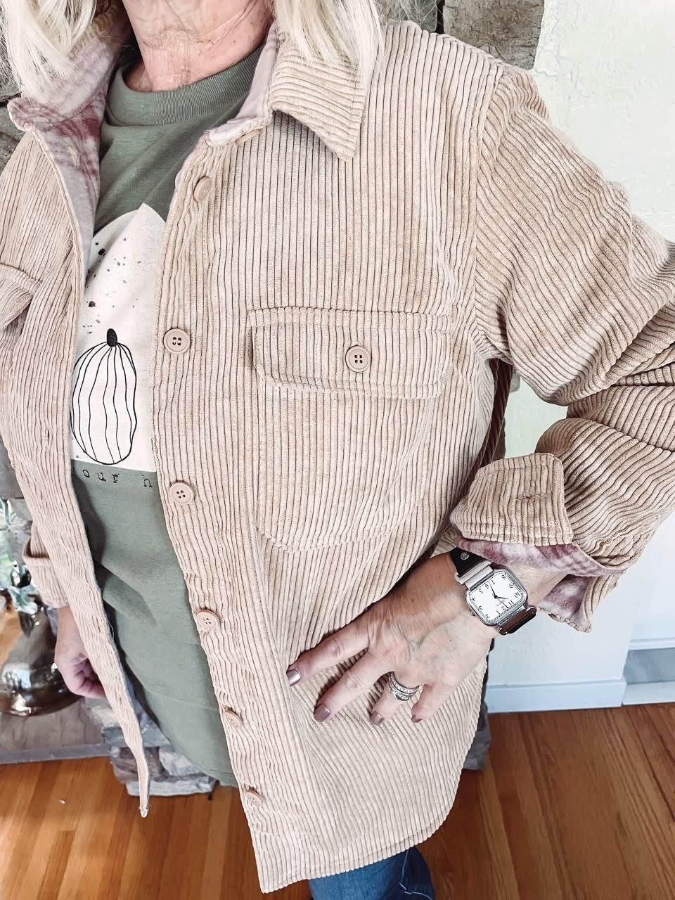 Eve Camel Corduroy Reversible Jacket