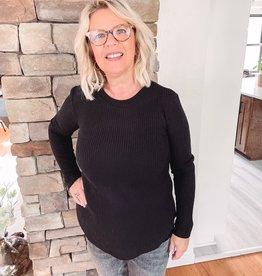 Eva Black Waffle Knit Top