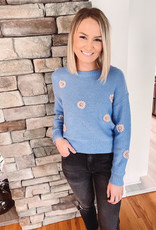 Blue Daisy Embroidered Sweater