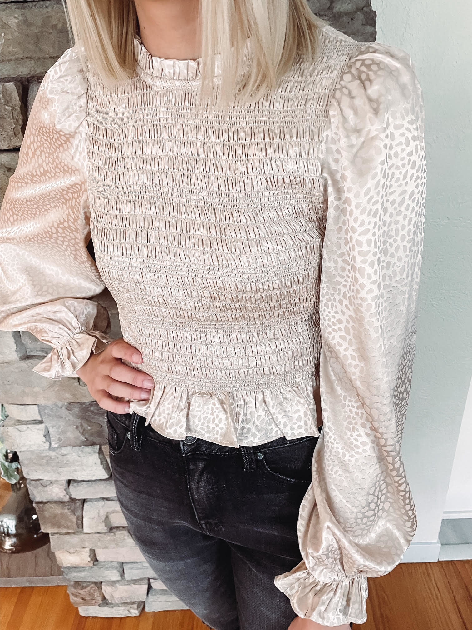 Champagne Smocked Blouse