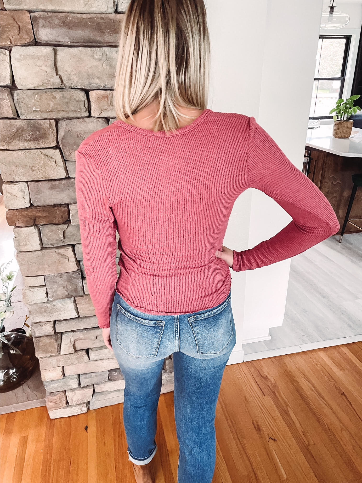 Berry Thermal Notched Long Sleeve