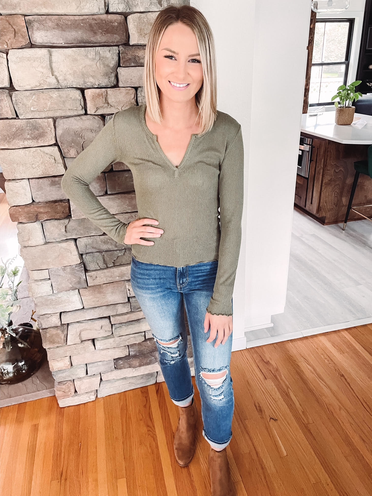 Olive Thermal Notched Long Sleeve