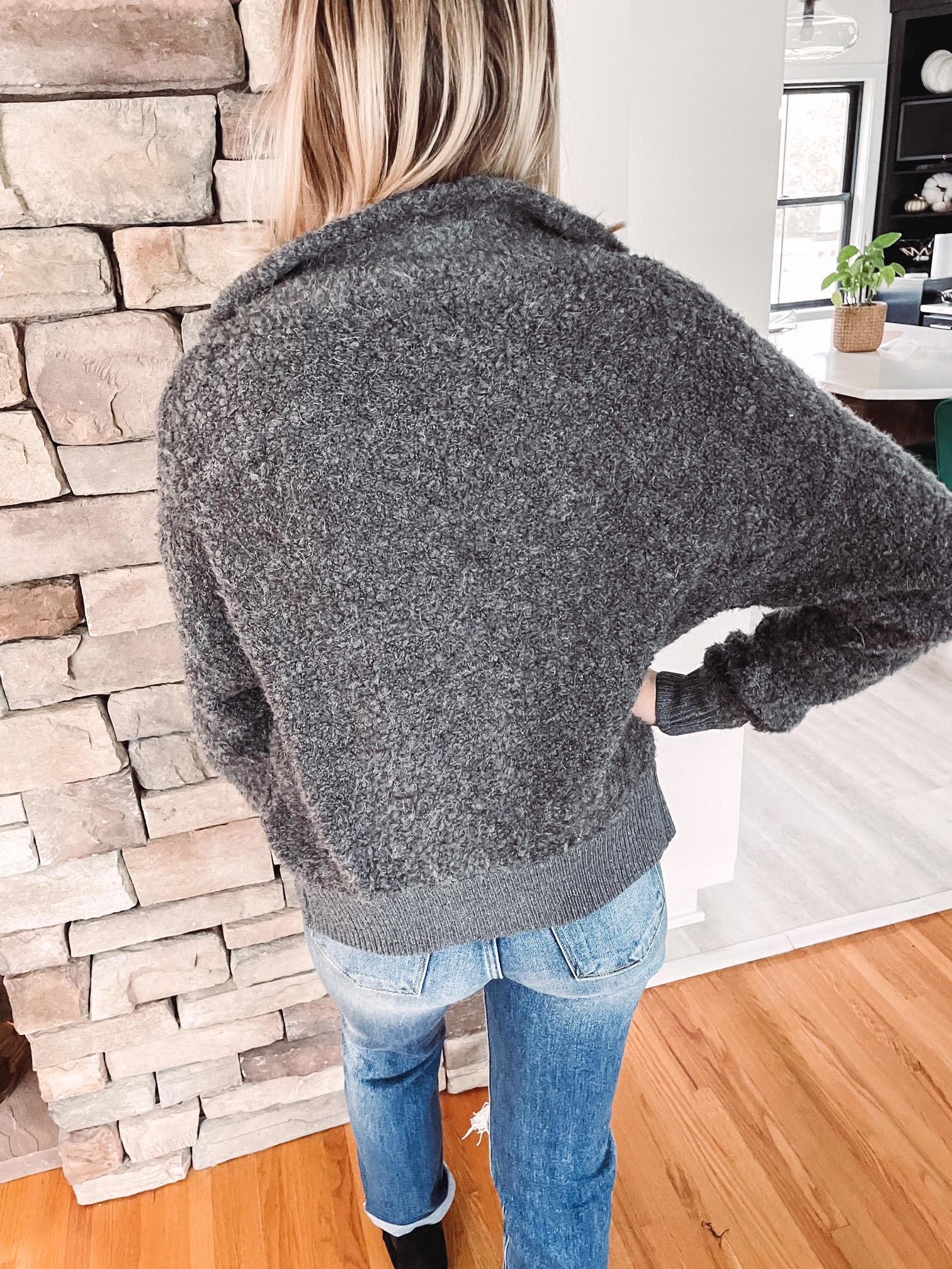 Charcoal Fuzzy Zip Up