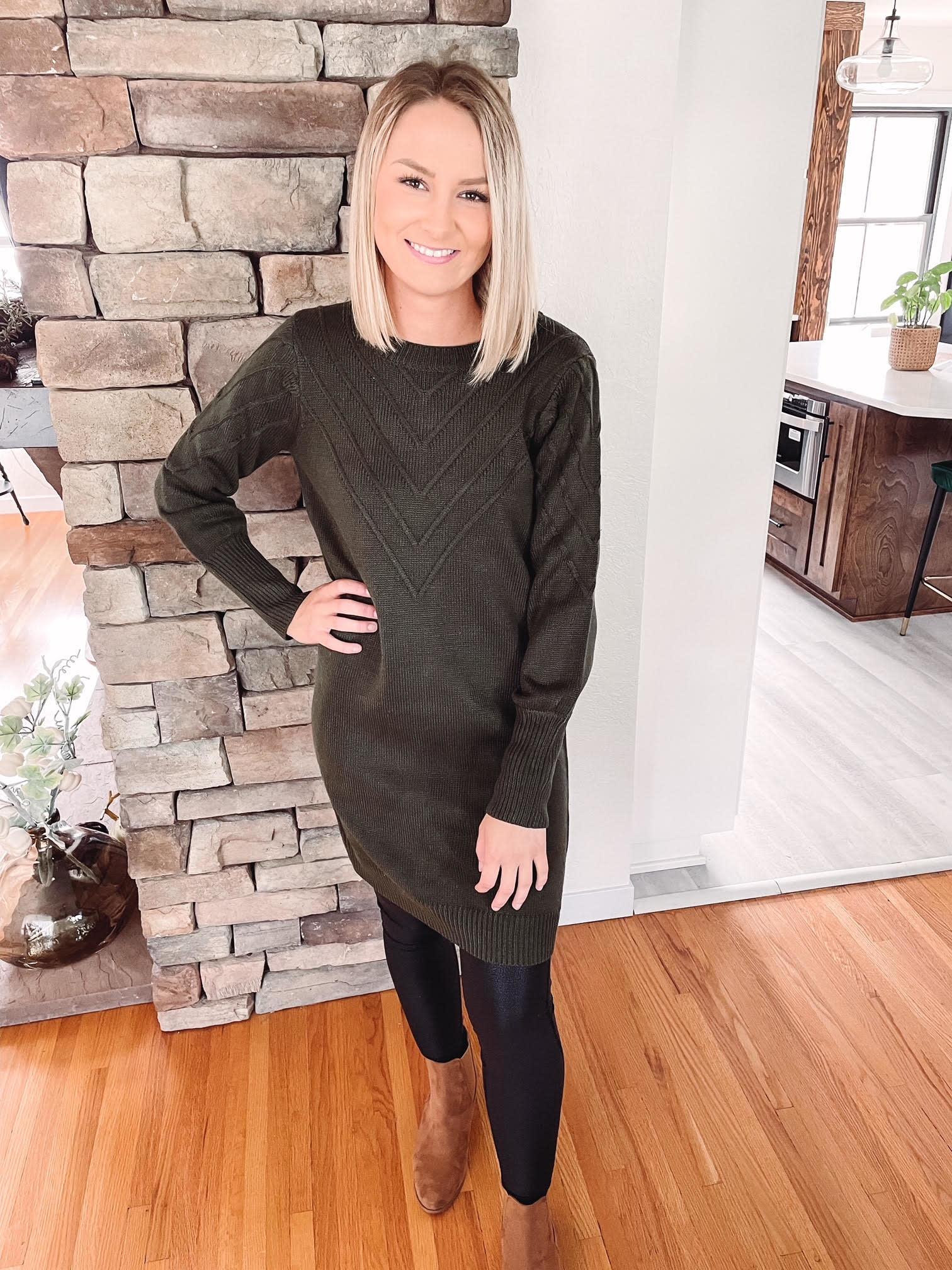 Christine Olive Sweater Dress