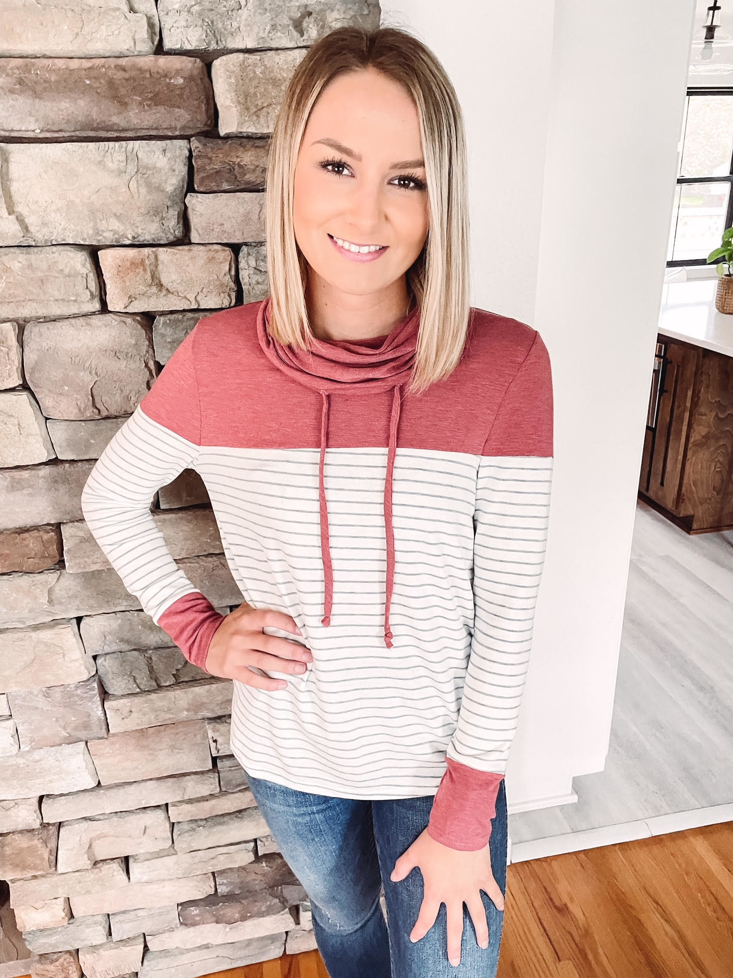 Berry + Ivory Striped Cowlneck