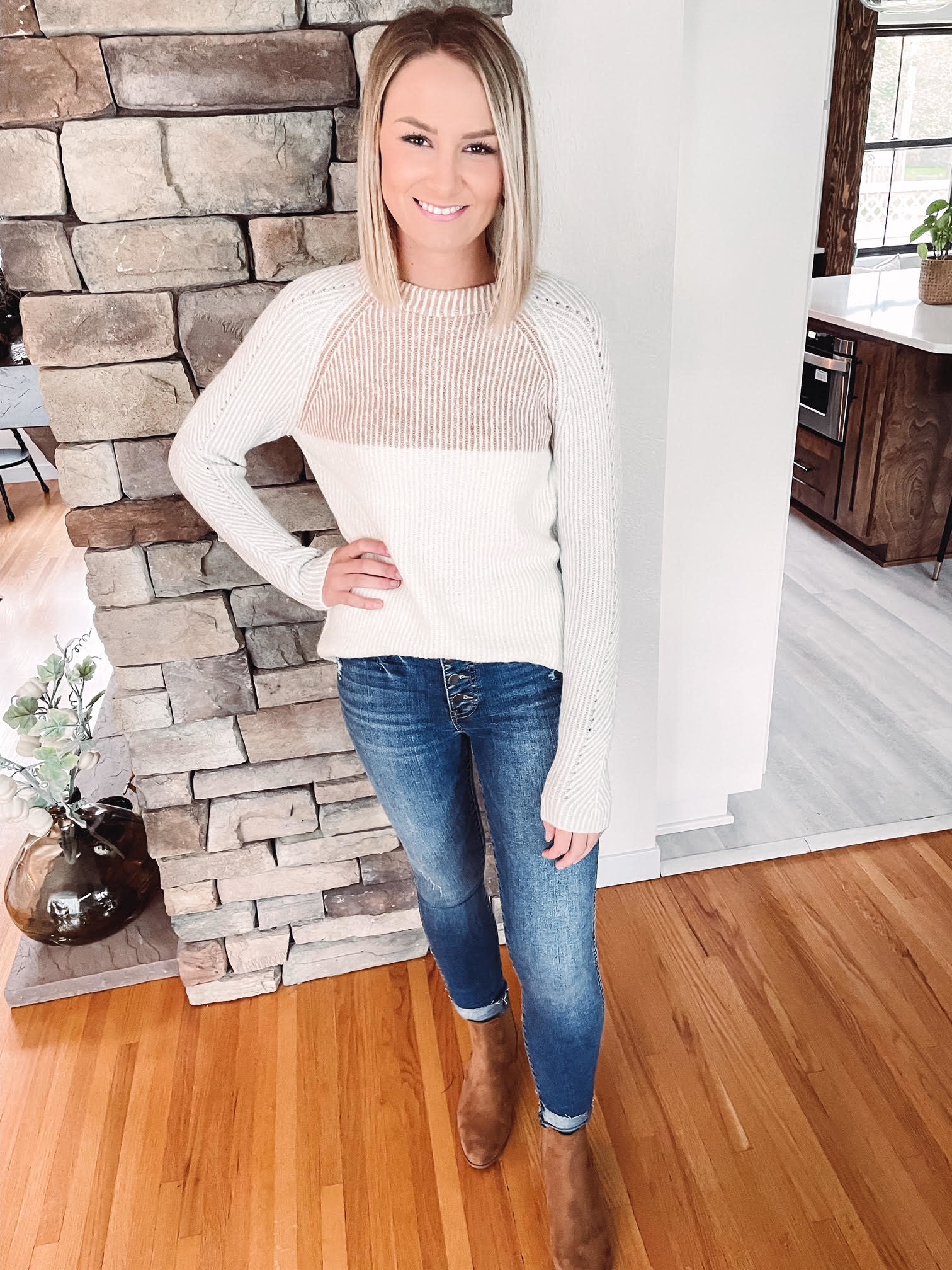 Taupe + Rust Textured Sweater