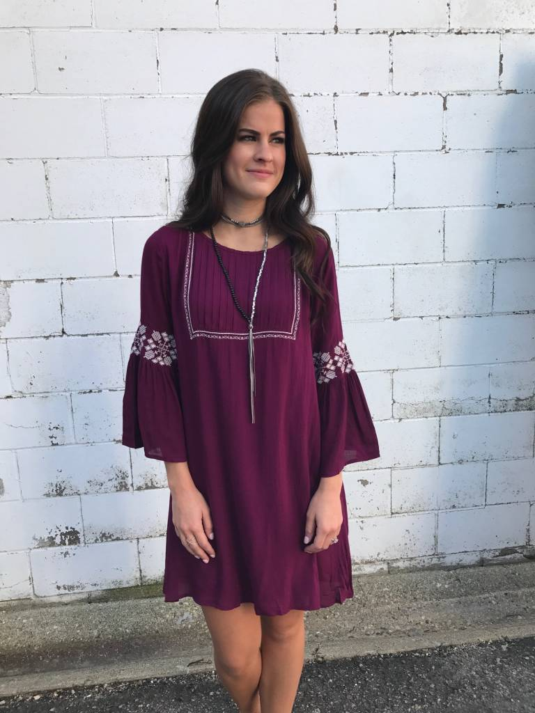 Plum Embroidered Tunic