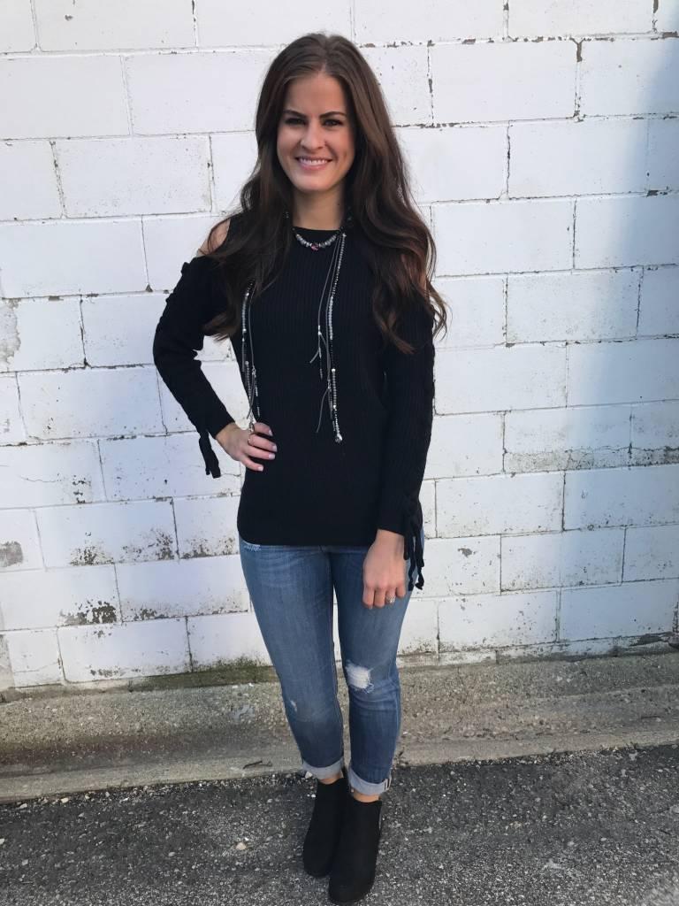 Black Cold Shoulder Sweater