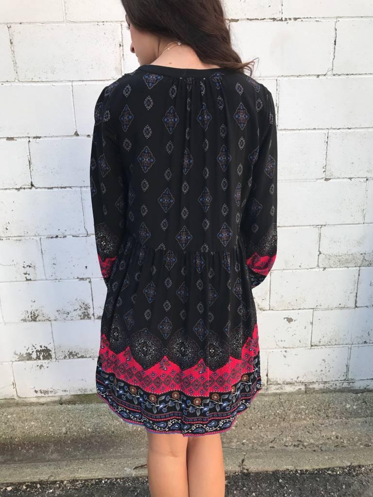 Black Designed T-Shirt Dress