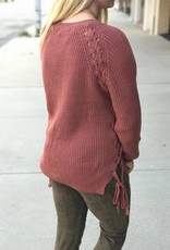 Auburn Lace Up Sweater