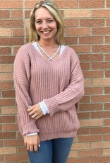 Dusty Pink V-Neck Sweater