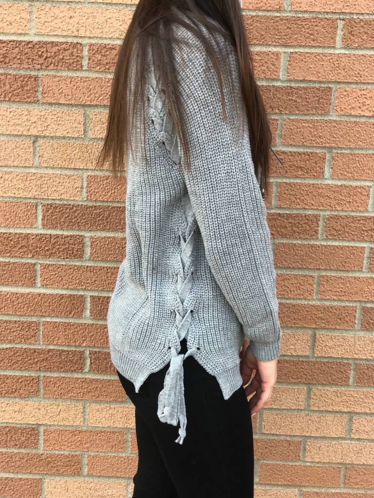 Gray Lace Up Sweater