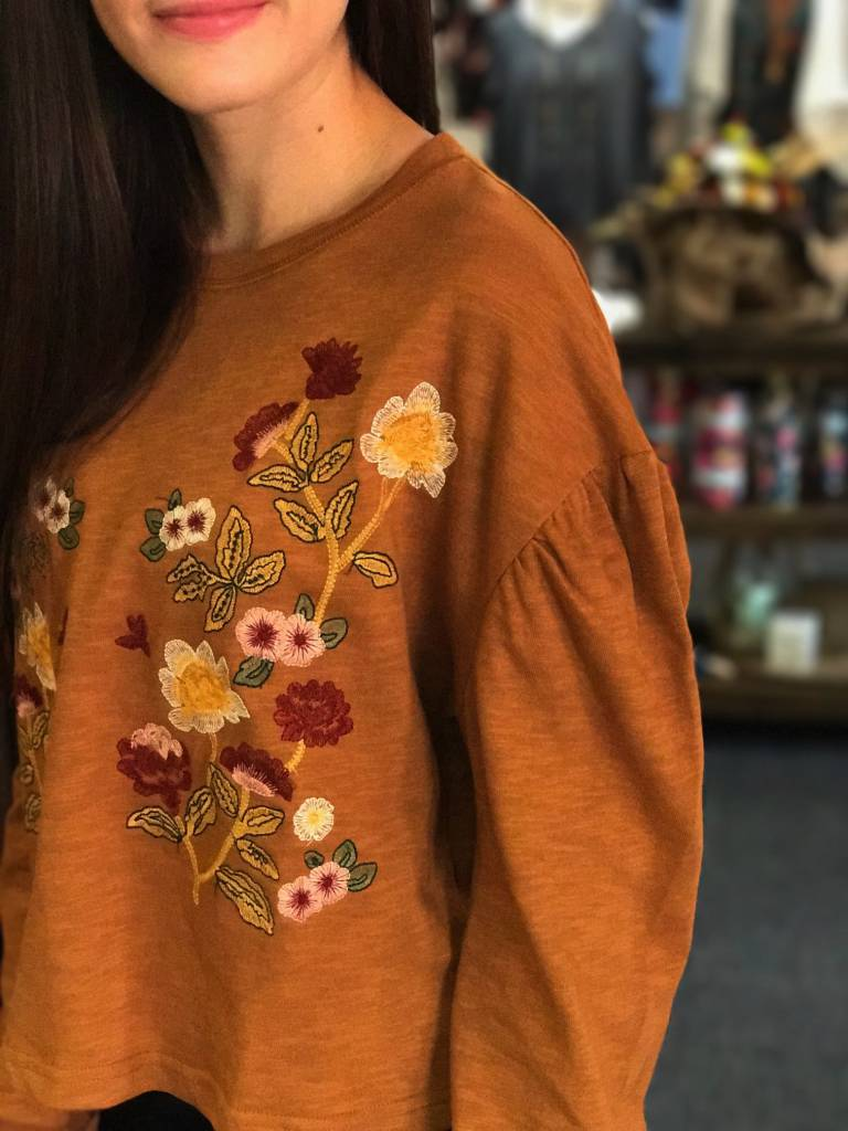 Mustard Embroidered Sweater