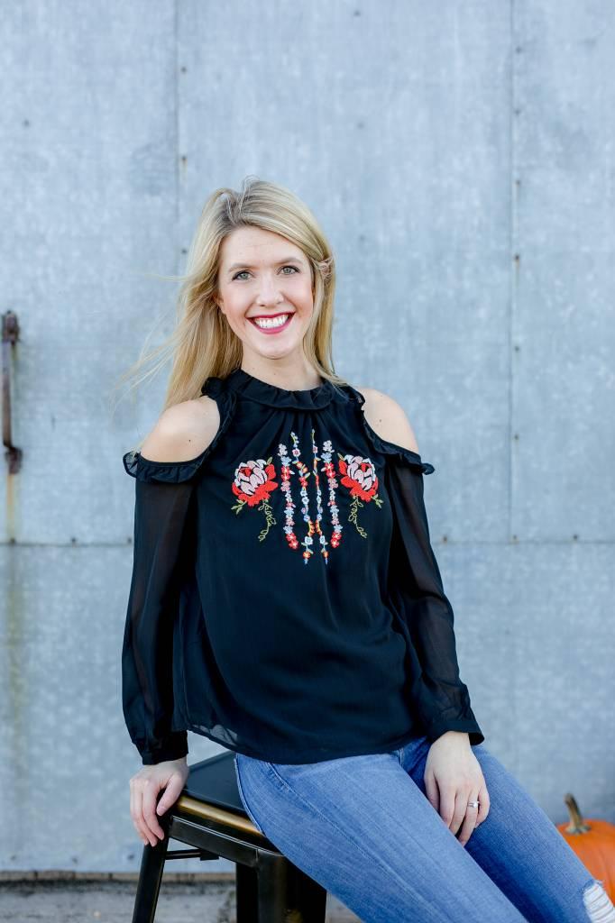 Black Cold Shoulder Embroidered Blouse