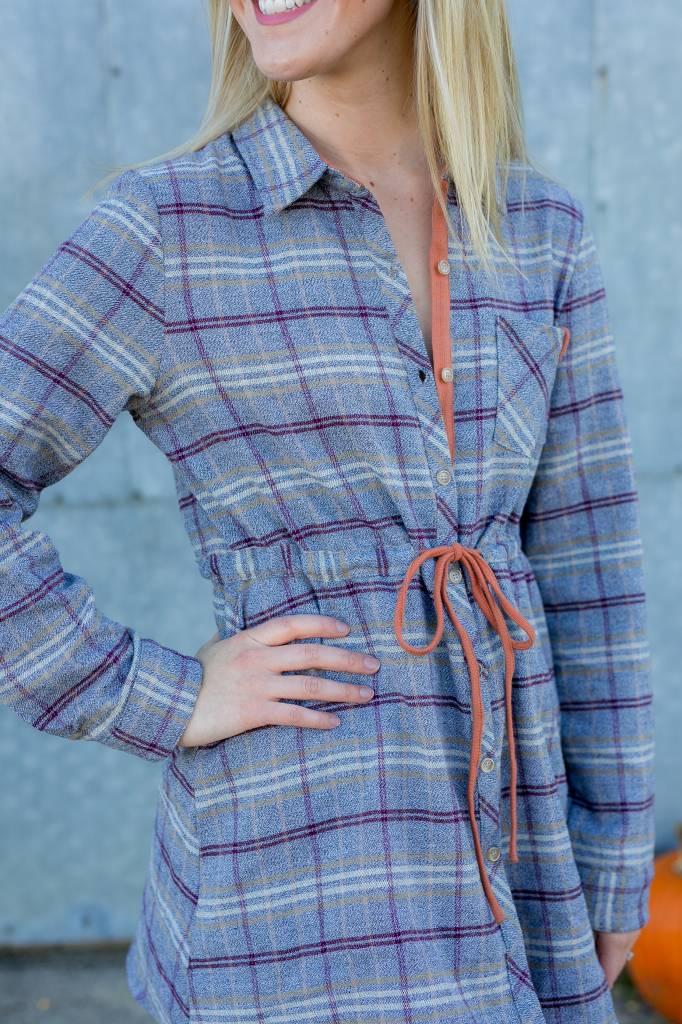 Gray/Orange Plaid Dress