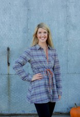 Gray/Orange Plaid Dress
