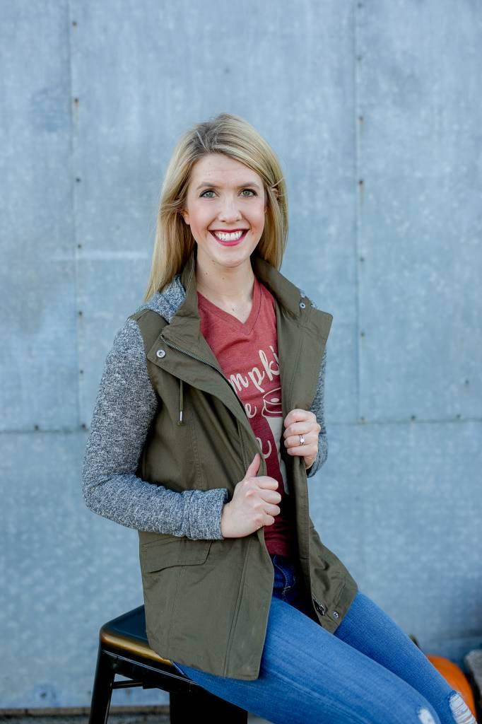 Olive/Knit Utility Jacket