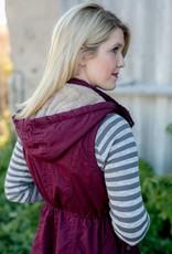 Cranberry Fur Lined Utility Vest