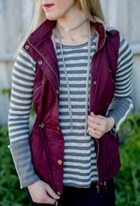 Cranberry Fur Lined Utility Vest