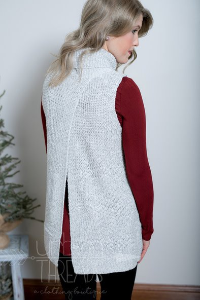 Grey Turtleneck Sweater Vest
