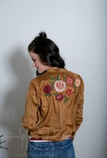 Faux Suede Embroidered Jacket