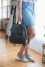 Grey Vegan Leather Backpack