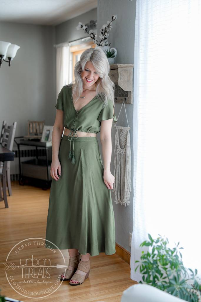 Olive High Waisted Midi Skirt